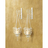 2 White Chic Shabby Hurricane crystal hanging Candle Holder Wall Sconce pair set