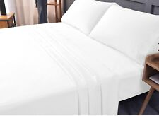 4 in 1 King microfiber bed sheet sets for boutique hotels (White)