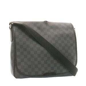 LOUIS VUITTON Damier Graphite Daniel MM Shoulder Bag N58029 LV Auth ar4278