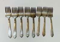 """Set Of 8 Antique WILSHIRE SILVER PLATE R.C. CO. Forks 6"""" Flatware Silverware"""