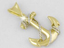Strahlend schöner, plastischer SCHIFFSANKER Anhänger mit TAU, 14kt. Gold,BiColor