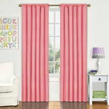 "2 Eclipse Microfiber Grommet Blackout Curtain Panel, Coral, 42""x95"""