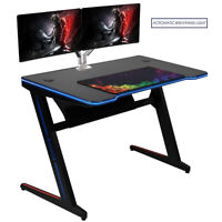 Kinsal Z-Shaped Gaming Desk Computer Desk Table with Automatically Changed Light
