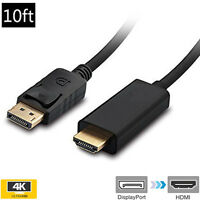 For PC ThinkPad HP/DELL 4K * 2K 10FT Displayport DP to HDMI M/M Cable Converter