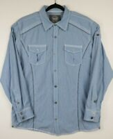 BKE Buckle Mens Size XL Button Up Shirt Athletic Fit Blue White Pin Stripe