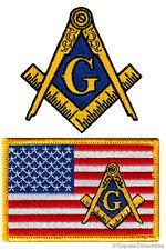 LOT TWO MASONIC LOGO USA FLAG EMBROIDERED PATCHES FREEMASON SQUARE COMPASS MASON