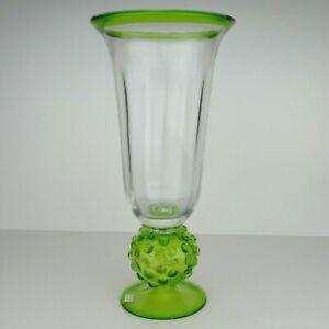 VINTAGE RETRO ITALIAN AMBER GREEN ART GLASS FLOWER VASE
