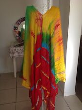 BRIGHT COLOURED RED LONG TIE DYE CRINKLE TOP, DRESS CAFTAN KAFTAN PLUS SIZE