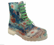 Floral Lace Up Synthetic Boots for Women