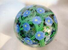 Signed Vintage Millefiori Art Glass Paperweight Globe Blue Green Flower Handmade