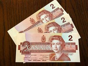 Canada 🇨🇦  $2 Dollar Bill Bird Series - UNC Banknotes