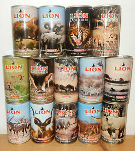 LION Lager Beer 14 cans Wild Animals set from SOUTH AFRICA (340ml)  Empty !!