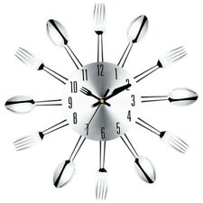 Stainless Steel Knife and Fork Spoon Kitchen Restaurant Wall Clock Home Dec L3s8
