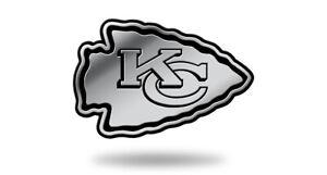 Kansas City Chiefs Logo 3D Chrome Auto Decal Sticker Truck Car NEW 4x2 Inches