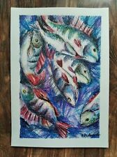 Original watercolor pencils and ink. Fish, Volga river, Russia А4...