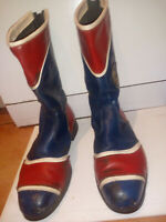 motorcycle Boots leather red and blue