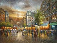 Dream-art Oil painting impressionism Paris street scene & Eiffel Tower carriage