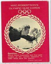(Gm313-100) RARE, MacRobertsons, Fanny Blankers-Koen, Olympic Quiz 1964 VG