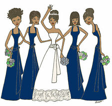 Bridal THANK YOU cards  African American navy  green flowers 4 bridesmaids
