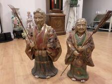 "A Pair of Large Contemporary Japanese Satsuma Longerity Figure 19 1/4"" & 16 1/2"""