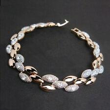 Damen 18K Gelbgold Vergoldet Kristall Strass Weiss Topas Gold&Silber Armband