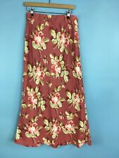 Laura Ashley Linen Floral Bias Cut Skirt Size 12