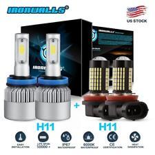 4x Combo H11 H9 H8 LED Headlight Low Beam+H11 Fog Light 6000K White Replace HID
