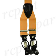 New in box Men's Suspender braces mustard Gold elastic clips buttons casual