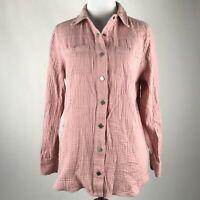 Soft Surroundings Women Pink Snap Button Long Sleeve Wash Gauze Shirt sz PS