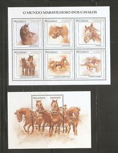Mozambique SC #1556 and 1559 Horses.  MNH