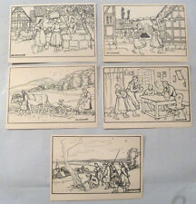 5 x Alte Ansichtskarte: Hessische Trachten. Otto Ubbelohde. Mandt Lauterbach.