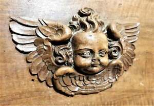 Pair 16 th renaissance angel carving panel Antique french architectural salvage