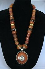 Statement Necklace OOAK Huge Nepalese Pendant Agate Resin House JEIQUE lagenlook