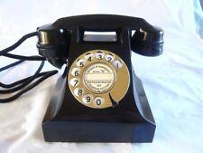 STUNNING BLACK VINTAGE BAKELITE TELEPHONE BRASS DIAL retro phone GPO Art Deco