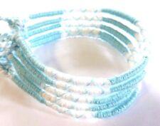 Lot 5 Bracelets Brésiliens de l'Amitié Macramé coton Friendship bleu ciel