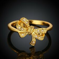 Gold Women Ring Size 7 Beauty Bowknot Clear Gems Inlaid Flat Band Daily Ring