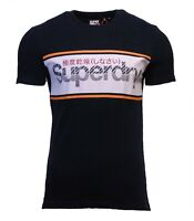 Superdry Mens New Core Logo Stripe T-Shirt Crew Neck Short Sleeve Navy Blue