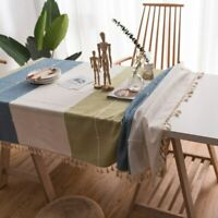 Linen With Lace Tassel Tablecloth Dining Table Cover for Kitchen Home Decorative