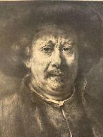 Rembrandt gravure Eau Forte Etching Autoportrait Portrait De L'artiste