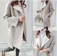 Warm Winter Womens Wool Cashmere Long Coat Fashion Cardigan Parka Outwear Jacket