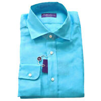 Ralph Lauren Purple Label Italy Linen Button Down Aston Blue Dress Sport Shirt