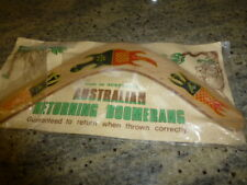 AUSTRALIAN RETURNING BOOMERANG - WITH THROWING INSTRUCTIONS ON THE BACK OF PACKA