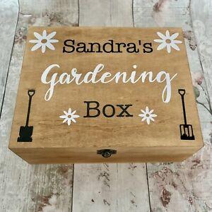 Personalised Rustic Wooden Gardening Box Gardener Gift Mum Nan Gran Mothers Day