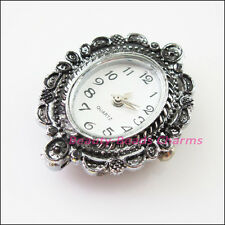 1Pc Tibetan Silver Plated Copper Oval Pocket Watch Face Charms 27x32.5mm