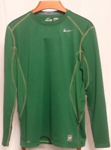 NIKE PRO COMBAT FITTED DRI FIT L//S MENS COMPRESSION SHIRT LARGE GORGE GREEN