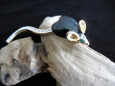 BLACK ENAMEL MOUSE BROOCH PIN Green Eyes GOLD TONE Hinged Rhinestone Tail