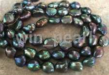 stunning huge 12-13mm tahitian black green blue pearl necklace 22inch 925S