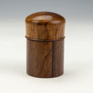 Antique A B Inlaid & Polished Dark Wood - Pocket Travel Inkwell Ink Bottle