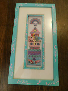 Susan Elliot Art ADORABLE Noah's Little Ark signed Painted frame Paper layered