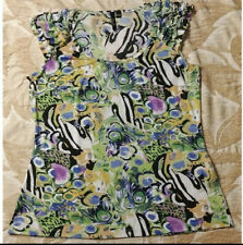 ESSENTIALS BY MILANO LADIES SHORT SLEEVE TOP SIZE XL Peacock Watercolor